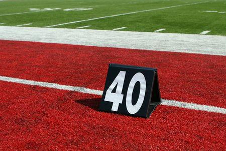 horizontal image of 40-yard line marker