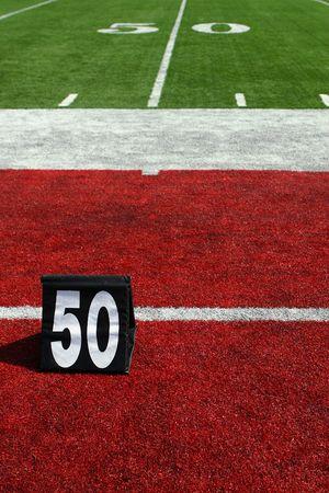 vertical image of 50-yard line marker