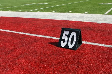 horizontal image of 50-yard line marker Фото со стока