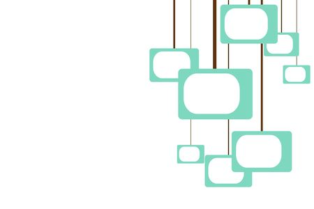 turquoise shapes remniscient of televisions hanging from brown lines in a retro pattern