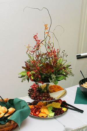 floral arrangement at catered buffet