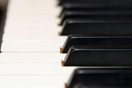 horizontal image of piano keys with shallow DOF