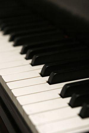 vertical image of piano keys at an angle.  Shallow DOF. Фото со стока