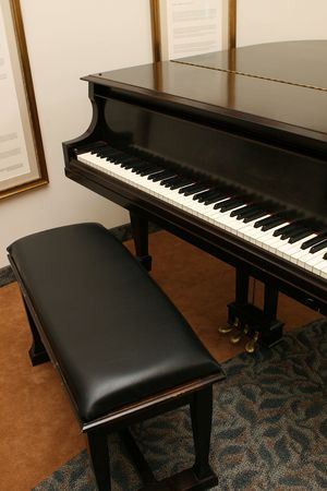piano and bench inside a building