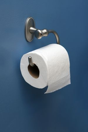 vertical image of toilet paper on blue wall, angled right