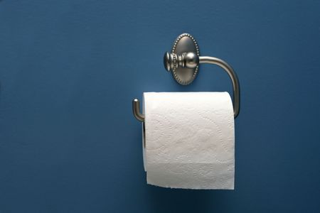 horizontal image of toilet paper on blue wall, straight on photo