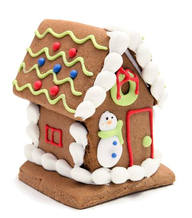 gingerbread house with snowman on white background Stock Photo