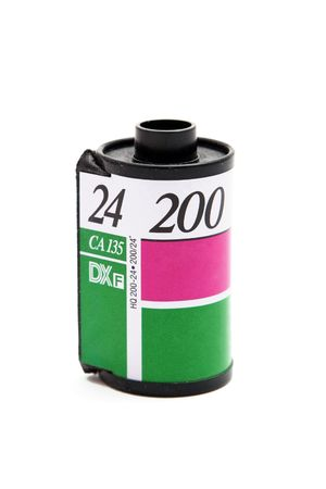 35mm film canister on white background