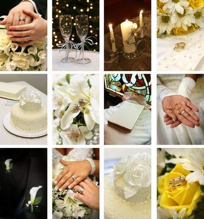 twelve small wedding images ideal for website design