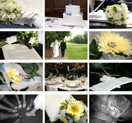 twelve small wedding themed images photo