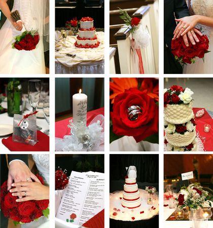 Zwölf kleine Hochzeit themenbezogene Bilder Standard-Bild - 4264691
