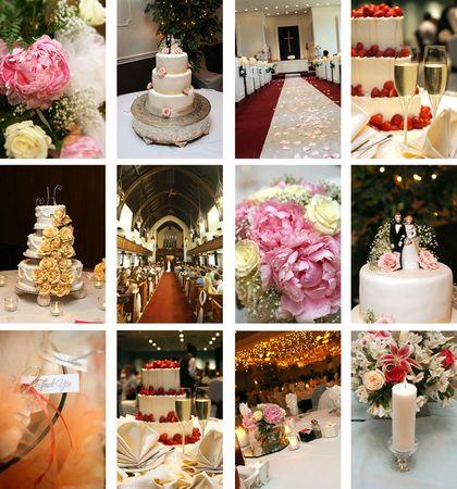 twaalf kleine bruiloft thema beelden ideaal voor website-ontwerp Stockfoto