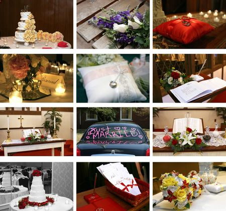 twelve small wedding themed images ideal for web design photo