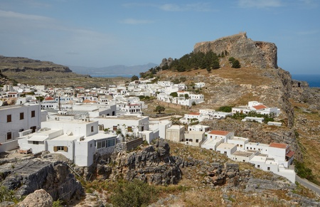 dodecanese: Picturesque whitewashed village of Lindos in the Dodecanese island of Rhodes, Greece.