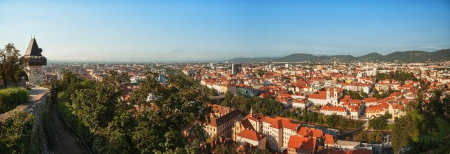 Graz panorama, beautiful view from Schlossberg above the city center  Stock Photo