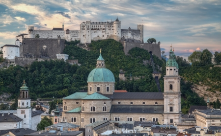 City and Castle Hohensalzburg in Morning - Salzburg, Austria photo