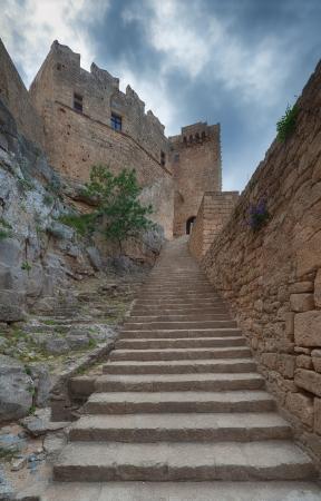 lindos: Greece, Rhodes, Lindos Acropolis  Stock Photo