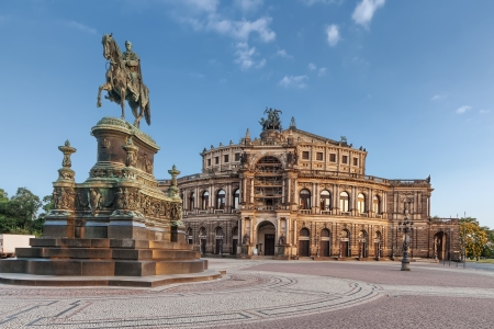 Semperoper  Saxon State Opera  and monument to King John of Saxony, Dresden, Germany