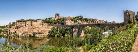 the tagus: Panorama Toledo, bridge San Martin and river Tagus.