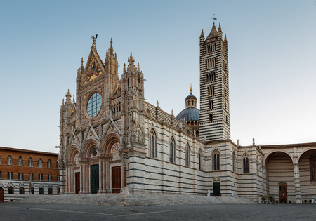Siena Cathedral is a medieval church in Siena, Italy, dedicated from its earliest days as a Roman Catholic Marian church, and now dedicated to the Assumption of Mary.