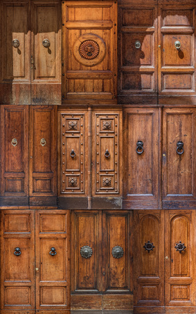Collage of Siena wooden doors 写真素材