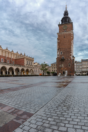 Town Hall Tower in Krakow, Poland is one of the main focal points of the Main Market Square in the Old Town district of Krakow.