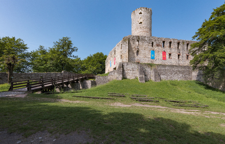 Ruins of the Krakow Bishops castle in the Polish Jura