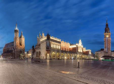 The main square of the Old Town of Krakow, Lesser Poland, is the principal urban space located at the center of the city. 写真素材