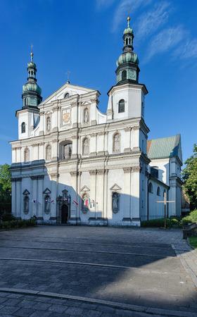 Catholic church of St. Bernardine of Siena facade in Krakow, Poland.