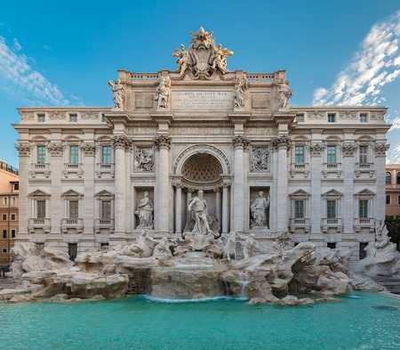 Trevi fountain at sunrise, Rome, Italy. Rome baroque architecture and landmark. Rome Trevi fountain is one of the main attractions of Rome and Italy.
