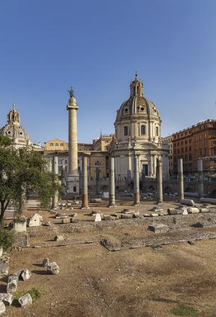 Trajan's Column and Basilica Ulpia and the Church of Santa Maria di Loreto, Rome.