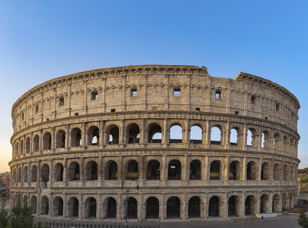 Colosseum at sunrise in Rome, Italy, Europe. Rome ancient arena of gladiator fights. Rome Colosseum is the best known landmark of Rome and Italy. 写真素材