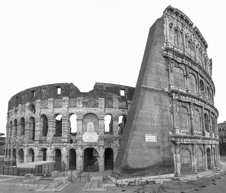 Colosseum in Rome, Italy, Europe. Rome ancient arena of gladiator fights. Rome Colosseum is the best known landmark of Rome and Italy.