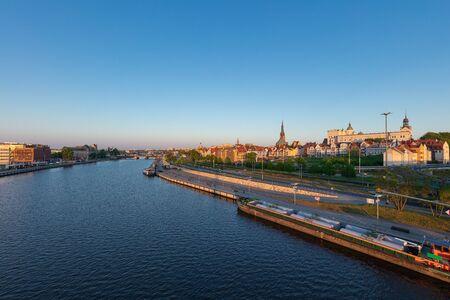 Oder Embankment in the morning in Szczecin