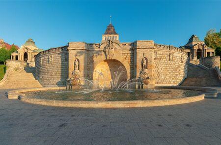 Fountain at Haken Terrases in Old Town of Szczecin. Poland. 版權商用圖片