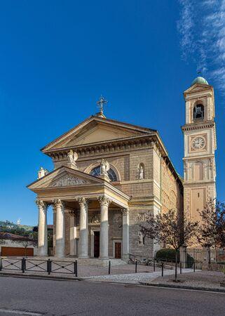 Facade of the Church of St Gerardo al Corpo in Monza, Italy