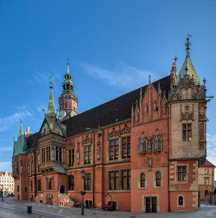 Gothic town hall built from XIII century - one of the main landmarks of Wroclaw city. Lower Silesia.