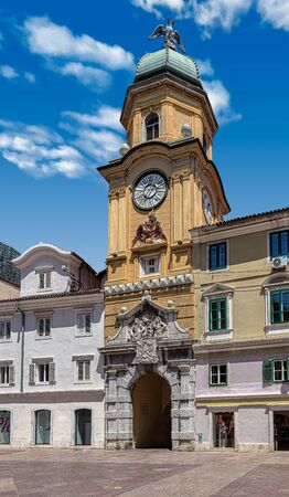 City clock tower or Gradski toranj, a landmark building of Rijeka, Croatia, Europe, in a sunny summer day at Korzo, the main street of the city