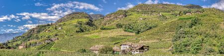 Beautiful panorama of south tyrol in autumn in Italy