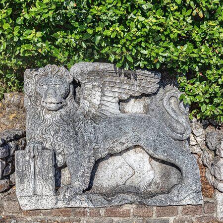 Venetian winged stone lion of saint mark sculpture on the entrance of Trsat castle Rijeka Croatia 版權商用圖片