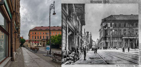 Wroclaw in 1945 and Wroclaw 2019. How it was and how it became. 新聞圖片