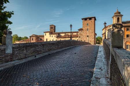 The Fabricius Bride or Ponte dei Quattro Capi, is the oldest Roman bridge in Rome, Italy, still existing in its original state. 版權商用圖片