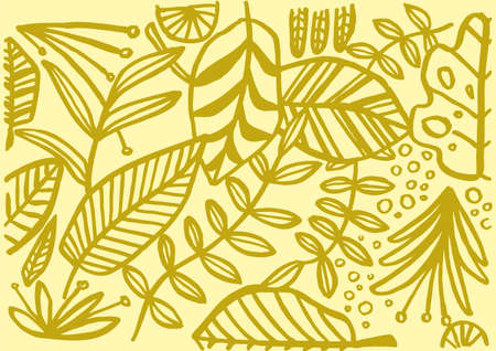 Jungle Vector Leafs handmade yellow illustration background decoration plants drawing nature organic botanical tropical exotic hand draw green