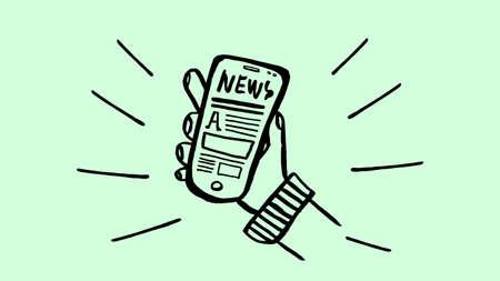 brush handmade illustration hand holding mobile phone with news