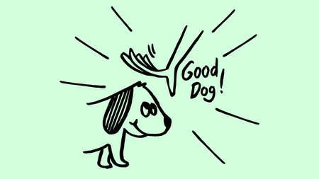 brush handmade illustration petting dog good behavior