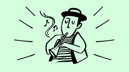 brush handmade illustration boy playing flute music stripes hat closed eyes