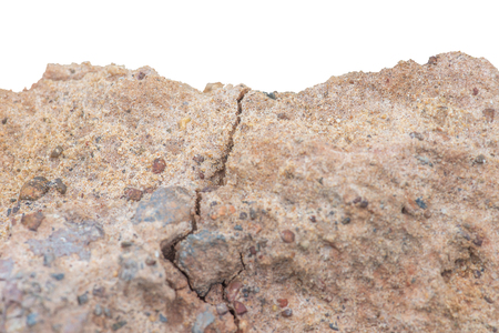 pile Soil or dirt with old cement from contruction road isolated on white background