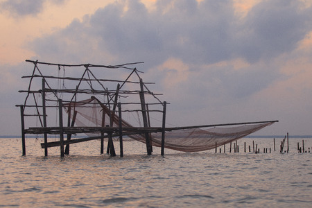 trawl: Destroyed house in Thai sea with trawl ,  Thailand