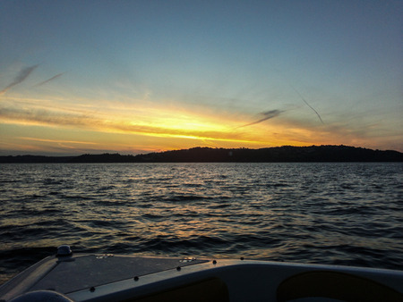 whilst: Sunset whilst on a powerboat