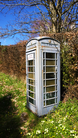payphone: Grey GPO  BT payhone painted green to blend into a rural surrounding, K6 as seen in London etc